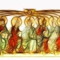 Tegning af Helligånden der kommer over apostlene
