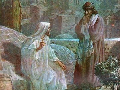 Maleri af Jesus og Nikodemus