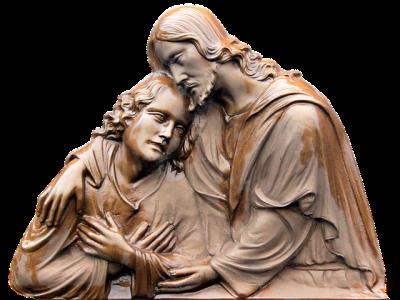 Statue af Jesus der trøster.